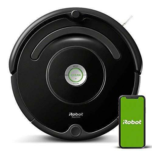 Robot aspiradora iRobot Roomba 671 WiFi, adecuado para alfombras y suelos, tecnología de detección de suciedad, sistema de 3 fases, 58 dB, limpieza programable, gracias a la aplicación, compatible con Alexa, negro, 33w