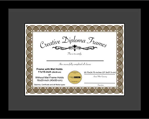 Creative Picture Frames 11x15 Classic Black Diploma Frame with Black Mat Glass Easel and Installed Wall Hangers | Frame Holds 16x20 Media without Mat