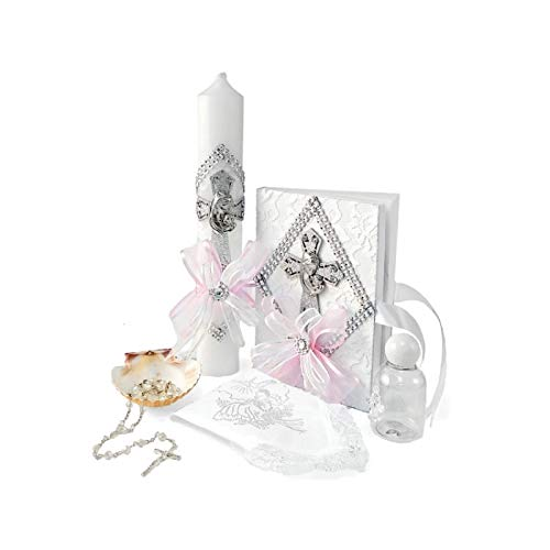 Spanish Handmade Christening/Baptism Set for Girl, Boy, or Unisex Virgen : Candle, Bible, Dry Cloth, Sea Shell, Rosary and Holy Water Bottle –Bautizo Religious Gift (Pink)