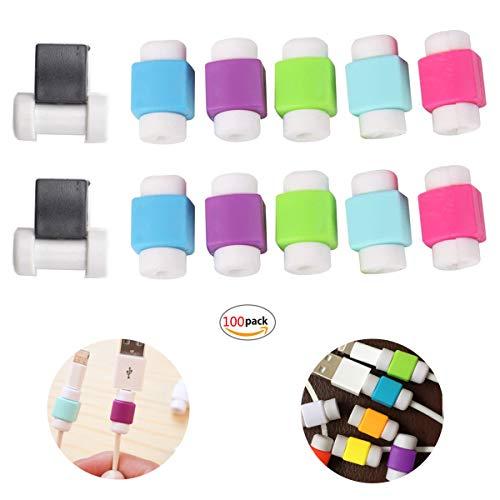 Ladekabelschoner,Yueser 100 Stück Flexible Silikon Wire Protektoren Anzug für Apple Handys USB-Kabelschutz,Verhindert Bruch (Zufällige Farbauswahl)