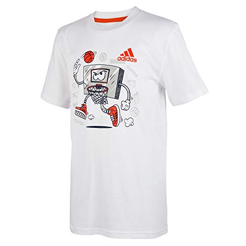 adidas Boys' Toddler Short Sleeve Cotton Jersey Graphic T-Shirt, Lil Slam White, 3T