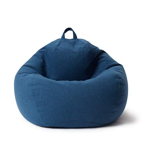 Lumaland Puff Pera Comfort Line con Taburete Disponible - Sillón Relax Puff Moldeable de Interior - Puff Infantiles con Relleno Incluido - 250 L 90x110x50 cm - Azul Oscuro