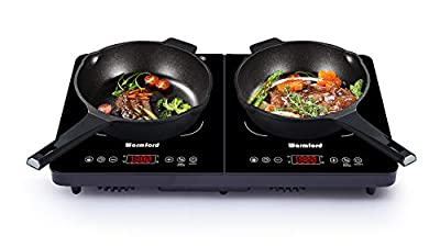 Electric Induction Cooktop Countertop Burner - 1800W Digital Double Induction Cooktop, Touch Screen Control