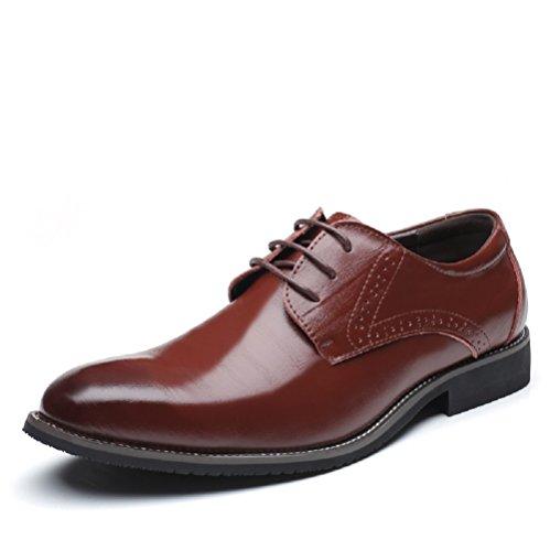 Business Anzugschuhe Herren, Lederschuhe Schnürhalbschuhe Oxford Smoking Lackleder Brogue Schuhe Hochzeit Derby Leder, 42 EU,  Braun
