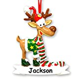 Personalized Ugly Sweater Reindeer Christmas Ornament - Holiday Tree with Custom Name