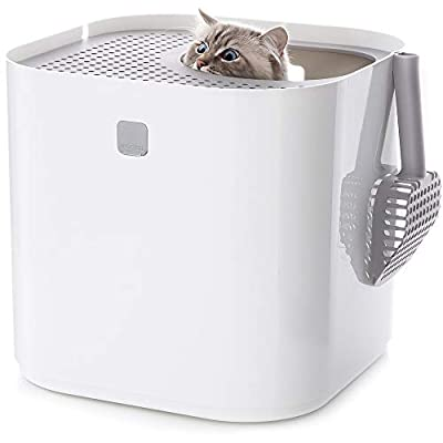 Modkat Litter Box, Top-Entry, Looks Great, Reduces Litter Tracking, Includes Scoop and Reusable Liner - White