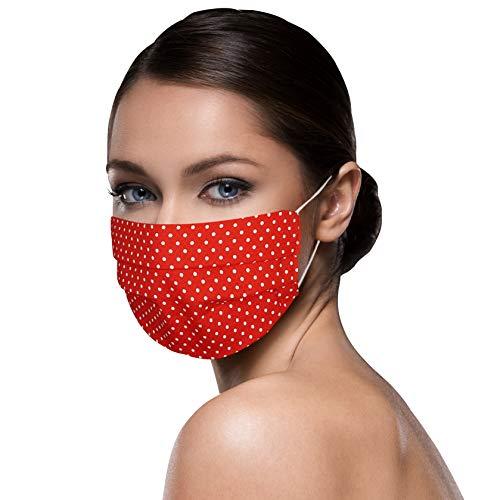 kleine Punkte ROT weiß Facies unisex verschiedene Farben u. Designs wiederverwendbare Stoff Facies aus Baumwolle waschbar Mund und Nasenbedeckung