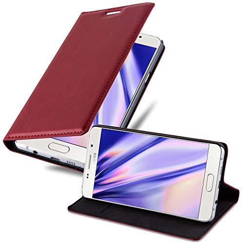 Cadorabo Hülle für Samsung Galaxy A3 2016 (6) - Hülle in Apfel ROT – Handyhülle mit Magnetverschluss, Standfunktion und Kartenfach - Case Cover Schutzhülle Etui Tasche Book Klapp Style