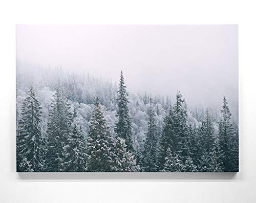 Winter & Schneelandschafts Bilder auf Leinwand – Wintertannen - als 110x50cm großes XXL Leinwandbild. Wandbild als Deko für Wohnzimmer & Schlafzimmer. Aufgespannt auf Holzrahmen