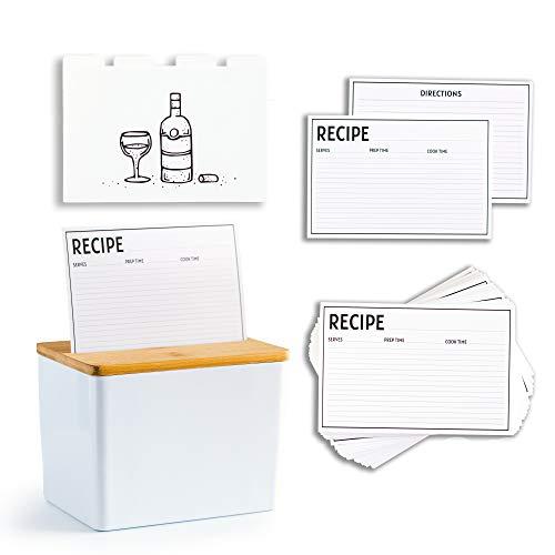 Clever Modern Premium Rezeptbox-Set mit Karten und Trennwänden, 100 x 15 cm, doppelseitige Rezeptkarten mit 8 trendigen Trennwänden, tolles Geschenk – Geburtstag, Muttertag, Hochzeitstag