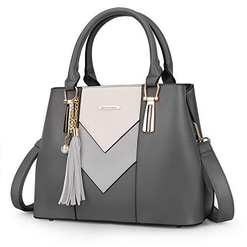 Pomelo Best Damen Handtasche Mehrfarbig gestreift V-förmiges Design (Dunkelgrau)