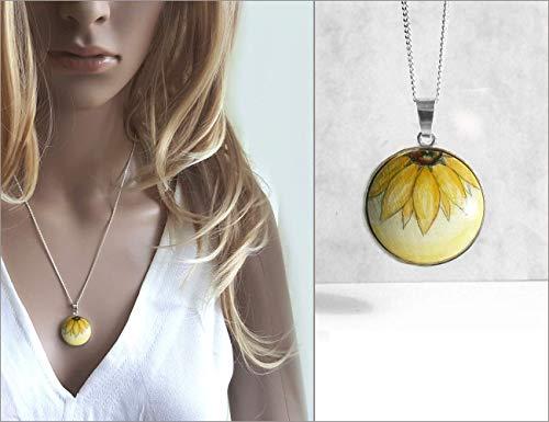 Eine halbe Sonnenblume, Handbemalter Runder Anhänger, Silberkette, Handmade Schmuck
