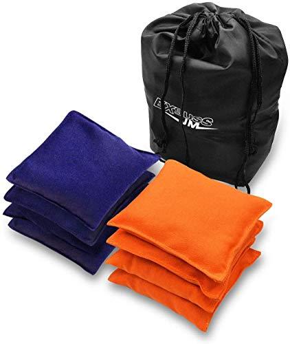 JMEXSUSS Weather Resistant Standard Corn Hole Bags, Set of 8 Regulation Cornhole Bags for Tossing Game (Orange/Blue)