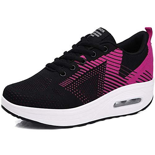 Kemosen Donna Sneaker Comodo Scarpe, Casual Dimagrante Passeggio Scarpe Campo da Piattaforma corsa Scarpe da jogging Moda 37 Stretta UE Nero Rosso