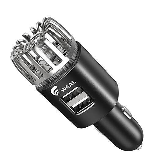 WEAL-Car-Air-Purifier-Ionizer, Air Purifier for Car, with Dual 5V/2.1A Car Charger, Black