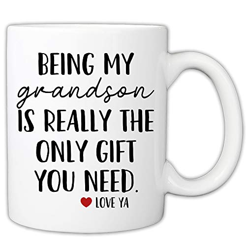 MyCozyCups Taza divertida para nieto – Being My Grandson Is Really The Only Gift You Need 11 oz taza de café