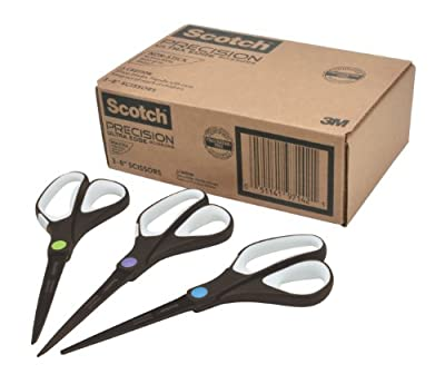 Scotch Precision Ultra Edge Non-Stick Scissors, 8 Inches, 3-Pack (1468-3AMZ)