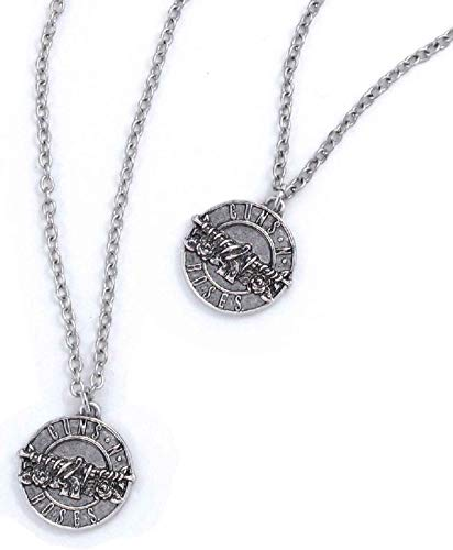 Guns N Roses Necklace & Bracelet Set Pistols Band Logo disc Nue offiziell