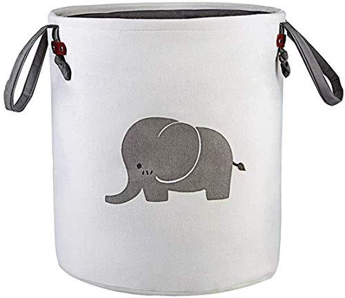 Storage Baskets,Cotton Foldable Round Home Organizer Bin for Baby Nursery,Toys,Laundry,Baby Clothing,Gift Baskets(Elephant) (Grey)