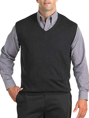 Harbor Bay by DXL Big and Tall V-Neck Sweater Vest, Carbon Heather, 3XL