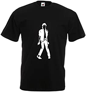lepni.me Camisetas Hombre Me Encanta M J - Rey del Pop, 80s, 90s Músicamente Camisa, Ropa de Fiesta (Large Negro Blanco)