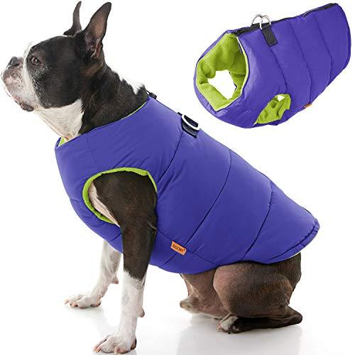 Gooby - Chaleco Acolchado sólido para Perro, Abrigo con Cremallera y Anillo de Lino, Color Morado sólido, Talla L