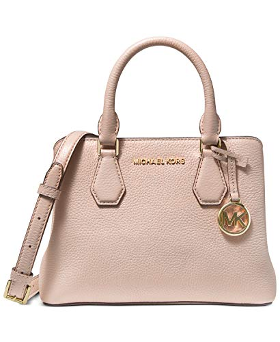 """Small sized bag; 10-1/2""""W x 7-1/4""""H x 4""""D (width is measured across the bottom of handbag); 1.5 lbs. approx. weight 21""""L strap Zip closure Gold-tone exterior hardware & 1 zip pocket 1 interior zip divider compartment, 1 zip pocket & 2 front snap pock..."""