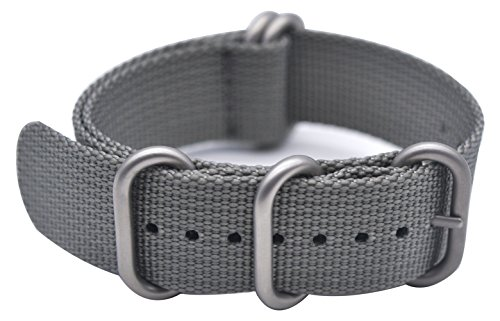 ArtStyle Watch Band with 1.5mm Thickness Quality Nylon Strap and Heavy Duty Brushed Buckle (Grey, 22mm)