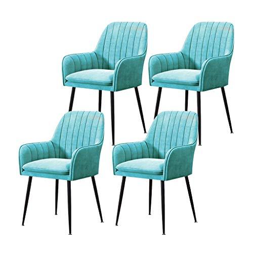 YXYH Chaise de Cuisine Chaises Salle Manger Lot De 4 Chaise Cuisinel Luxe Fauteuil Velours Fer Forgé Antidérapant for Dossier Doux Minimaliste Moderne Chaise De Maquillage (Color : Light Blue)