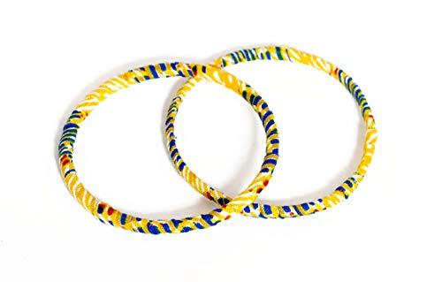 Juego de 2 pulseras de tela 100% Wax fabricadas en Francia de tipo africano. Amarillo azul y blanco. Joya colorida elegante hecha a mano. Idea de regalo original para mujer. Tienda Mansaya Paris.