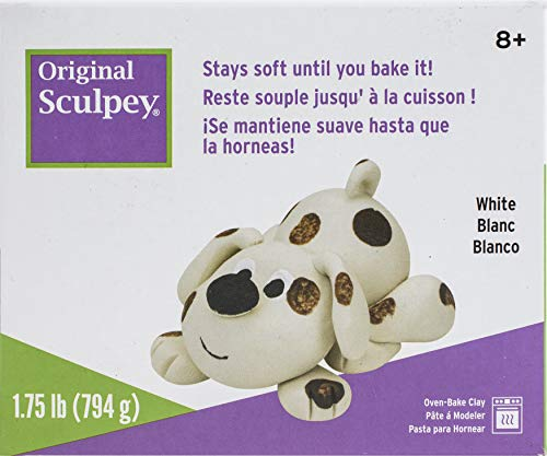 Original Sculpey White, Non Toxic, Polymer clay, Oven Bake Clay, 1.75 pounds great for modeling, sculpting, holiday, DIY and school projects. Perfect for all skill levels.