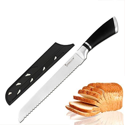 Cuchillo de pan de corte de acero inoxidable Herramientas de cuchillos de cocina de 8 pulgadas Cortador de diseño serrado para corte de pan de pan