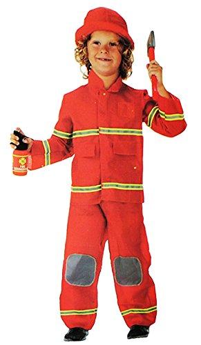 alles-meine.de GmbH 3 TLG. Kostüm Feuerwehr Mann - 6 bis 9 Jahre - Gr. 116 - 140 - Karneval / Feuerwehrmann / Rettung - Hose + Jacke + Mütze - für Kinder Kind Kinderkostüm Faschi..