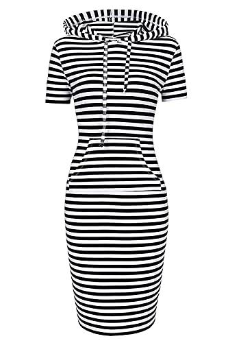 Women's Hoodie sweatshirt Short Sleeve Pullover bodycon Stripe Keen Length Slim Dress with Kangaroo Pocket for Sport Causal (M, Black White Short Sleeve)