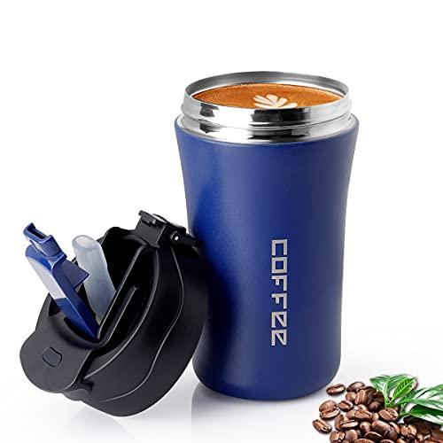 CS COSDDI - Taza de café para Go13oz/380 ml, termo con tapa y pajita, vaso aislante al vacío, a prueba de fugas, taza de viaje de acero inoxidable para agua caliente y fría