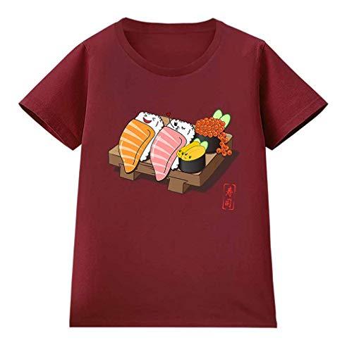 Fox Republic【楽しそうな 寿司 すし いくら ウニ】 レディース 半袖 Tシャツ バーガンディー M