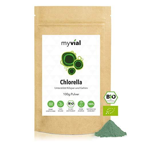 myvial® Chlorella Pulver Bio 100g | vegan | 100% naturbelassen | Chlorella vulgaris