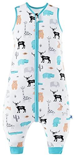 Chilsuessy Saco de dormir para bebé con pies, saco de dormir de verano 100% algodón, 0,5 tog, saco de dormir con pies para niños pequeños, sin mangas, zoológico salvaje, 80 cm/2-3 años