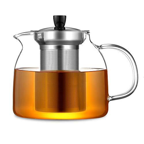 ecooe 1000ml Teekanne Glas Teebereiter mit Abnehmbare Edelstahl-Sieb Glaskanne