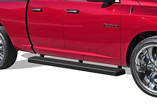 APS iBoard Running Boards 5 inches Matte Black Custom Fit 2009-2018 Dodge Ram 1500 Quad Cab Pickup 4-Door (09-12 Drilling Required) (Nerf Bars Side Steps Side Bars)