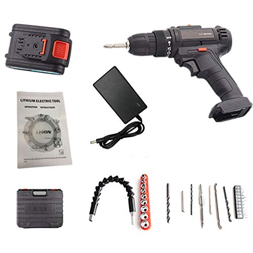 Cordless Drill Driver Kit, 21V Cordless Rechargeable Drill Screwdriver Bits Kit with 1500mAh Battery, 2 Speeds (0-600/0-1350 RPM), with LED, Drilling Wall Brick Wood Metal