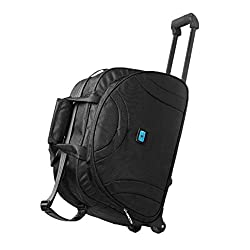 Polyester 10.2 cm Trolley Duffle Bag (0P-K6BW-EELY_Black)