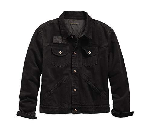 Harley-Davidson Men's Slim Fit Overdyed Denim Jacket (Black, Medium)