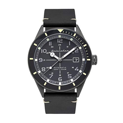 SPINNAKER Men's Cahill 43mm Black Leather Band Steel Case Sapphire Crystal...
