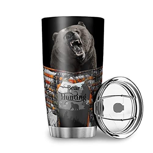 Tobgreatey Vaso de acero inoxidable aislado al vacío, 600 ml, con tapa abatible, diseño de cazador de animales, color blanco