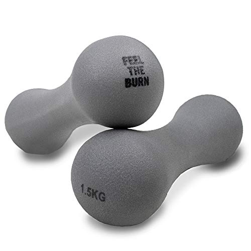 Phoenix Fitness 1.5KG Grey Neoprene Pair Of Dumbbells - Dumbbell Weight for Home and Gym Fitness Exercise Workout Training for Arms and Hands - Ideal for Pilates, Yoga and Gym Classes