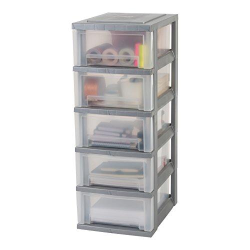 IRIS 135722, Schubladenschrank / Schubladenbox / Rollwagen / Rollcontainer / Werkzeugschrank \'Smart Drawer Chest\', SDC-005, mit Rollen, Kunststoff, silber / transparent