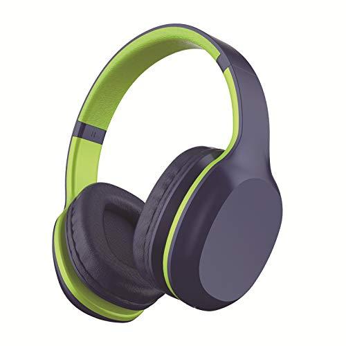 LIMTT 5.0 Bluetooth-Kopfhörer, Kabelloses Over-Ear-Headset Mit Hi-Fi-Tiefenbass, Weiche Protein-Ohrpolster Mit Steckbarer TF-Kartenfunktion Für Die Reise Mit Dem Handy 2-Teilig Grün