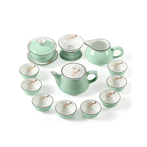 Celadon exquisite ceramic Tea set kettles tea cup porcelain chinese kung fu tea set drinkware Travel portable tea set best gifts,As shown2