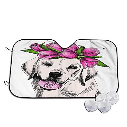Parasol para Coche,Retrato Labrador Retriever Perro Huevo Tulipá,Parabrisas de prevención de Calor Parasol Protector de Visera de Rayos UV 51'X27.5'